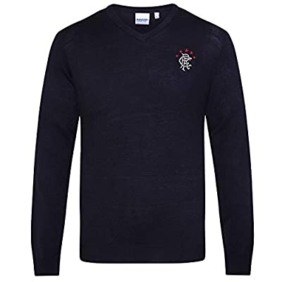 Rangers Football Club Official Soccer Gift Mens Crest Knitted Jumper