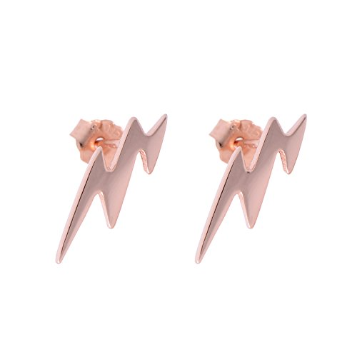 Paialco 925 Sterling Silver Lightning Flash Symbol Earrings Studs, Rose Gold Plating