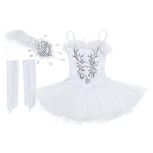 MAGA 1 Girls White Swan Dance Dress Sequined Beads Flowers Ballet Tutu Leotard Dress Princess s Stage Dance Costume