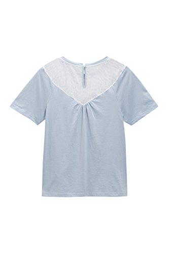 next Mujer Camiseta Bordado Flores Alto Top Ropa Azul