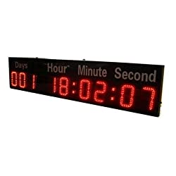 GOODRELIISH 6-inch 9 Digits LED Timer Countdown/up Wall Mounted Clock with Days Hours Mins Secs Red Color