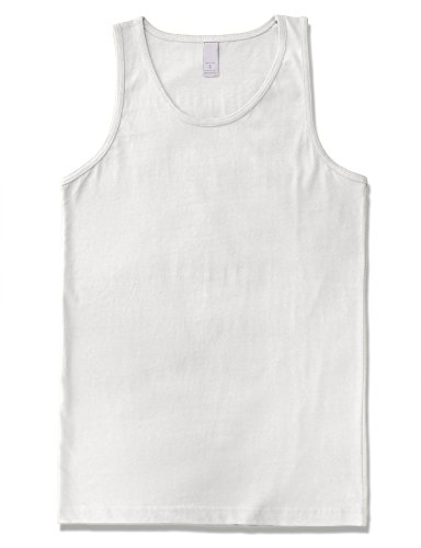 JD Apparel Men's Premium Basic Solid Tank Top Jersey Casual Shirts 2XL White