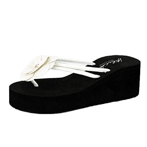 HLHN Women Slippers,Flower Flip Flops Clip Toe Anti-Skidding Wedge Heel Sandals Platform Shoes Slope Flops Beach Summer White