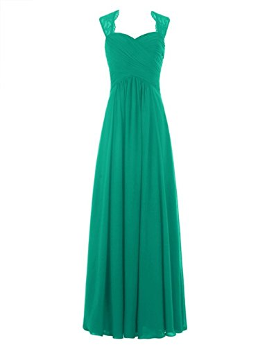 Green Blue Chiffon Cap Navy Sleeve Spitzen Damen Lang Fanciest Brautjungferkleider Cxz8BnqRwI