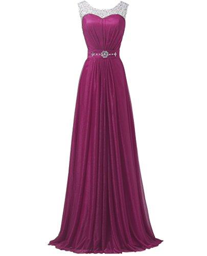 Chiffon Beaded Long Gown - 4