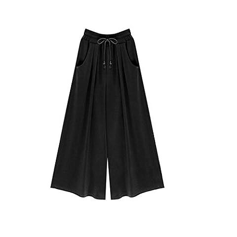 Oksale Plus Size Womens Elastic Waist Harem Pants Casual Wide Leg Pants (3XL, Black)