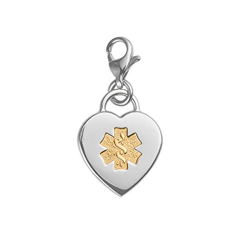 Divoti Custom Engraved Adorable Heart 316L Medical Alert Charm w/ Lobster Clasp-PVD Gold - Medical Charms For Bracelets