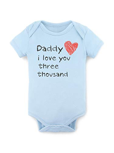 1st Fathers Day Bodysuit for Baby Father's Day I Love You 3000 Onesies Happy Blue