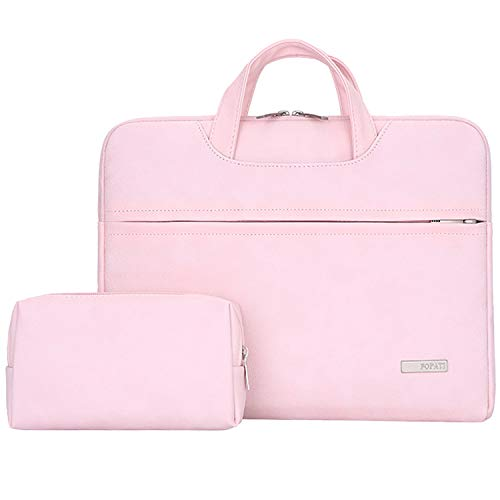 YOUPECK 14 15 Inch Laptop Sleeve Case for MacBook Air PRO 15 Retina, Surface Book 2 15, 14 inch Notebook Chromebook Protective Bag PU Leather Briefcase Notebook Carrying Handbag, Pink