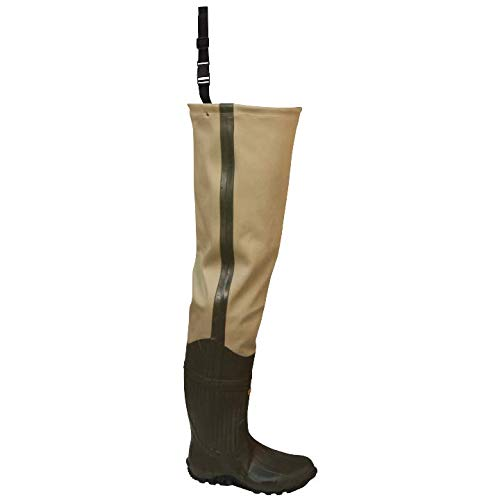 Frogg Toggs Bull Frogg 3-ply PVC Canvas Bootfoot Hip Wader, Cleated Outsole, Khaki, Size 11