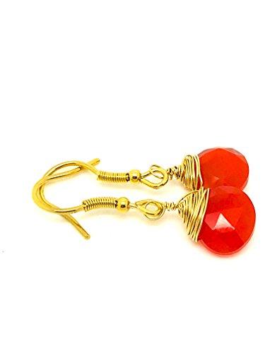 Carnelian 14k wire wrapping earrings - Luz Jewelry (18k Carnelian Ring)