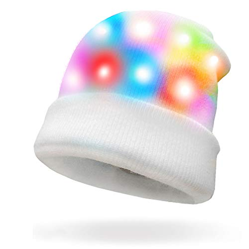 LED Glow Blink Knit Hat - Luwint Lights Up Costume Cap Party Show Prop Toy with 2 More Batteries for Boys Girls (White)