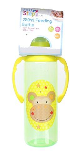 First Steps Jungle Pals Gripper Baby Feeding Bottle Silcone Teat BPA Free 250ml-Green Monkey
