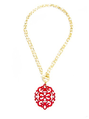 Mens Toggle - ZENZII Modern Damask Acrylic Resin Pendant Necklace with Convertible Toggle Chain (Red)