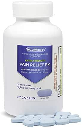 ValuMeds PM Pain Reliever and Nighttime Sleep Aid (375-Caplets) Acetaminophen 500mg | Fast-Acting Relief for Headaches, Minor Aches | Non-Habit Forming