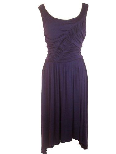 LONDON TIMES Hanky Hemline Ruched Bodice Sleeveless Dress-PURPLE-14