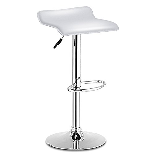 COSTWAY Swivel Bar Stools Adjustable PU Leather Backless Dining Counter Chair (White) ()