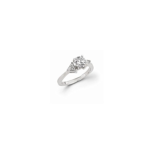 14k White Gold Peg Set Diamond Three Stone Ring Mounting, Peg Set Head Can Fit Any Size (3 Stone Diamond Ring Mounting)