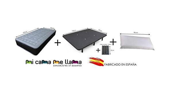 Dulces Sueños Pack COLCHON VISCOELASTICO Premium + Base TAPIZADA 3D + Patas + Almohada VISCO (90 x 190) PROMOCIÓN: Amazon.es: Hogar