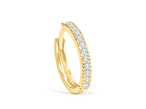 14K Real Solid Yellow Gold Jewelry Cz 15mm Thick Open Round Circle Tragus Cartilage Snug Inner Outer Conch Daith Helix Ear Segment Clicker Huggie Hoop Ring Piercing Earring For Women ()