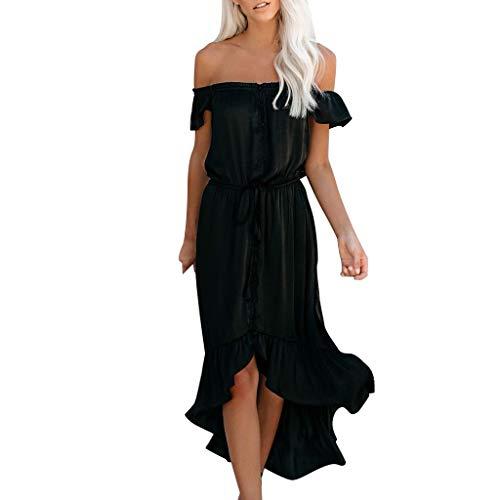 (iPOGP Fashion Womens Dress Off The Shoulder Ruffle Party Dresses Irregular Beach Waist Chiffon Maxi Dress)