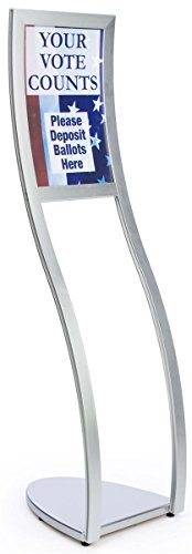 (Displays2go Floor-Standing Sign Holder for 11x17 Prints, Top-Loading Insert, S-Curve Shape - Silver, Aluminum (CMP1117S))