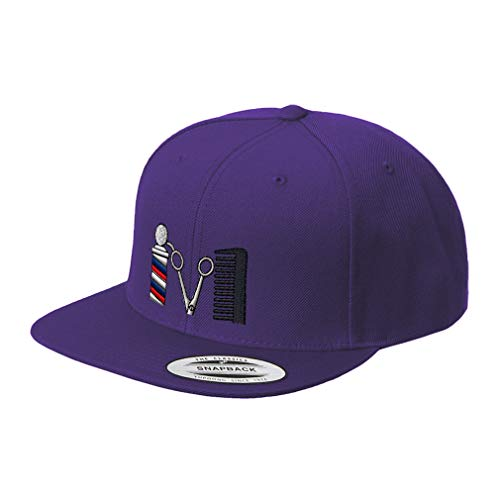 Snapback Baseball Cap Barber Logo Embroidery Design Acrylic Cap Snaps Purple Design Only (Best Way To Become A Barber)