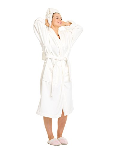 - OrganicTextiles Velour Bathrobe, Certified Premium Organic Cotton (GOTS Certified), 5-Star Hotel Spa Quality, Luxurious Feel, Rich Softness and Absorbent - Women's (Sm/Med) White