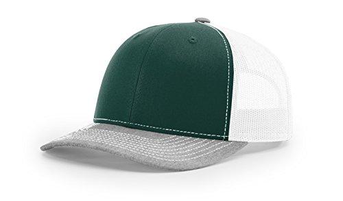 (Richardson - Snapback Trucker Cap - 112 - Adjustable - Dark Green/White/ Heather Grey)