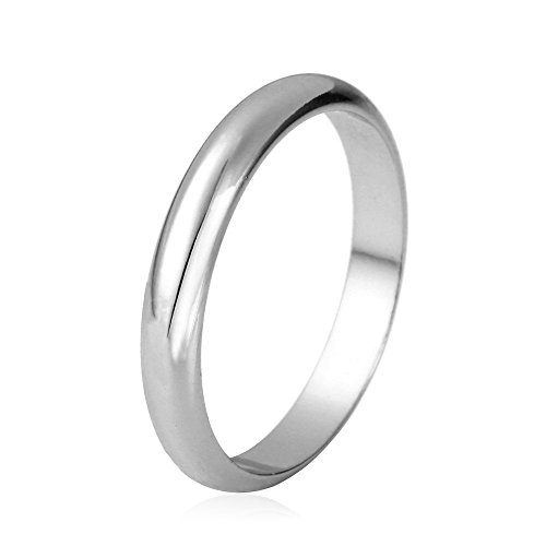 Plain Ring Wedding Anniversary Gift Men & Women Platinum Plated 3MM Wide Ring Band (Size 9)