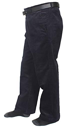 - REAL LIFE FASHION LTD Mens Corduroy Cord Cotton Trousers Gents Formal Casual Wear Pants with Belt#(Navy Corduroy Cord Cotton Pants#Waist 42/29 Length#Mens)