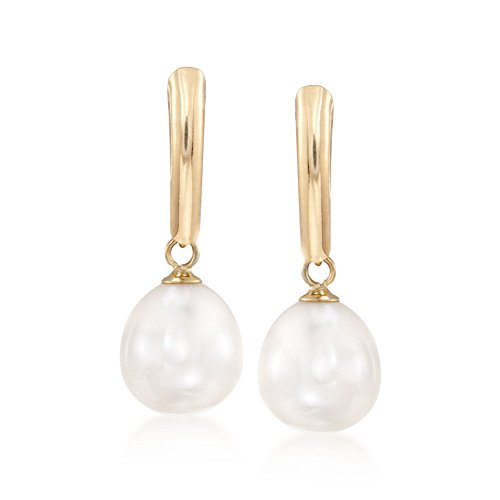 Ross-Simons 8.5-9mm Cultured Pearl Drop Earrings in 14kt Yellow Gold