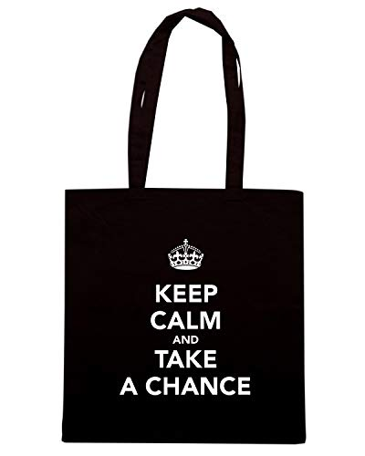 Speed Shirt Borsa Shopper Nera TKC1046 KEEP CALM AND TAKE A CHANCE