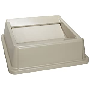 Rubbermaid Commercial FG266400BEIG HIPS Untouchable Square Trash Can Swing Top, 20-1/8-inch, Beige