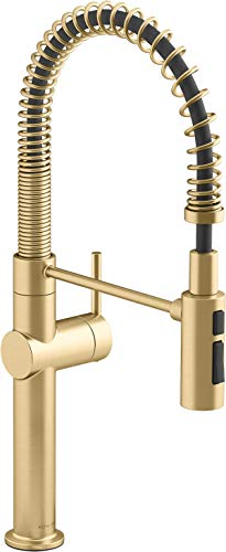 Kitchen Kohler K-22973-2MB Crue Kitchen Sink Faucet, Vibrant Brushed Moderne Brass modern sink faucets