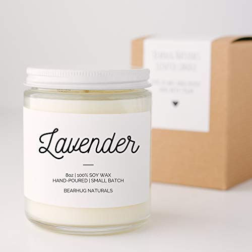 Lavender Scented All Natural Soy Candle, Hand-poured Soy Candle Floral Scent Vegan Eco-friendly from Bearhug Naturals