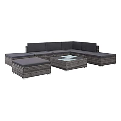 K&A Company Outdoor Furniture Sets, 8 Piece Garden Lounge Set with Cushions Poly Rattan Gray