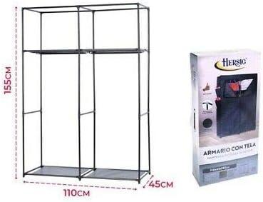 HERSIG Armario de Tela ropero Estante Lona Ropa guardarropa Closet 155x110x45cm