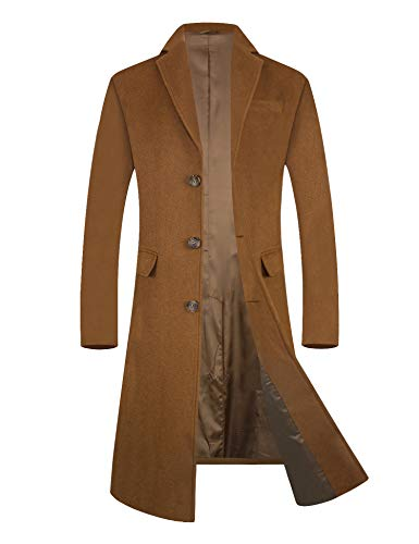 Men's Trench Coat 80% Wool Content French Long Jacket Winter Business Top Coat (Small, 1 Camel(Long))