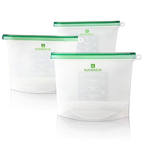 Reusable Silicone Food Storage Bag by Kucheneur - Airtight and Leak Proof Organizer for Snacks, Sandwiches, Lunch - BPA Free - Microwave, Dishwasher, Freezer and Fridge Safe - Set of 3 Bags