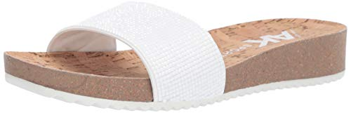 Anne Klein Women's QTEE Slide Sandal, White, 8 M US (Klein Slides Anne)