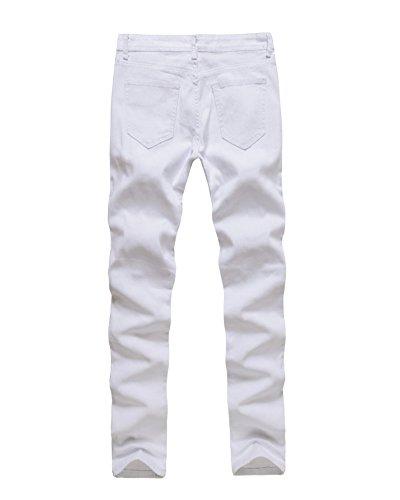 Sólido Rotos Blanco Negro Jeans Pantalones Skinny Hombre Fit Slim Color Vaqueros 5AqwxHgP
