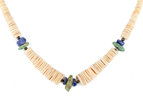 $280Tag Certified Silver Navajo Natural Graduated Turquoise Lapis Native American Necklace 15632-78