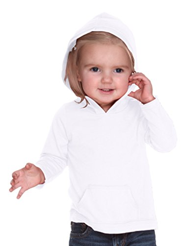 Kavio! Infants Jersey RawEdge High Low Long Sleeve Hoodie w.Pouch White 12M