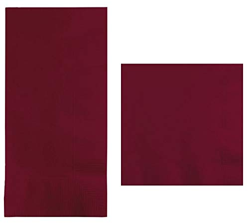 Burgundy Beverage Napkins (100-count) and Burgundy Dinner Napkins (100-count), and Comes with a Party Planning Checklist