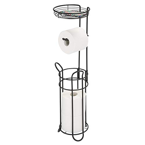 (mDesign Freestanding Metal Wire Toilet Paper Roll Dispenser and Holder Stand for Bathroom Storage Organization - Top Round Storage Tray Shelf for Cell Phone, Book, Spray - Holds 4 Mega Rolls - Black)