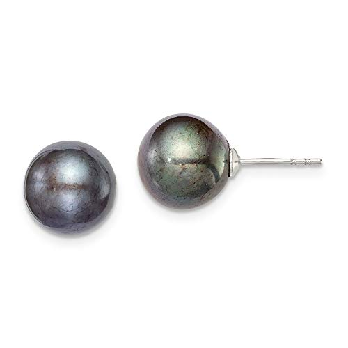 925 Sterling Silver 10mm Black Freshwater Cultured Round Pearl Stud Earrings Ball Button Fine Jewelry Gifts For Women For Her