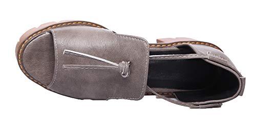 Femme Correct Sandales Couleur Gris Ouverture Unie d'orteil AgooLar GMBLB014888 Tire à Talon qd4z6C