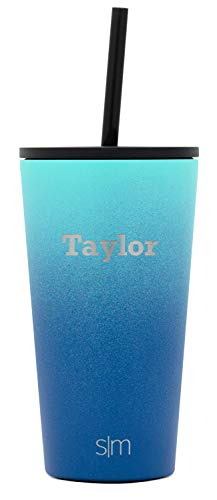 Simple Modern Personalized Gift Tumbler Custom, Classic 16oz - Straw & Flip Lid, Ombre: Pacific Dream