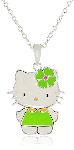 Hello-Kitty-Girls-Silver-Plated-Green-Flower-Pendant-Necklace